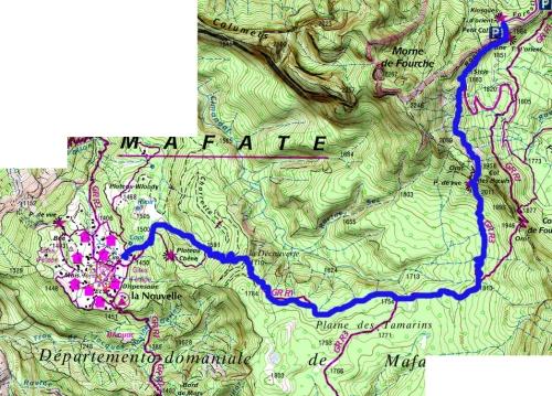 Mapa ruta Mafate